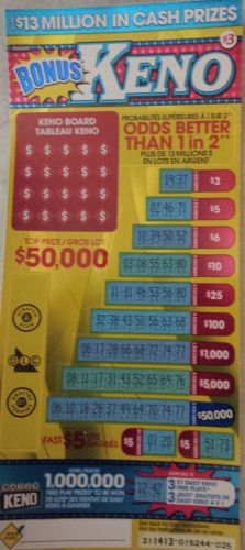 Bonus keno scratch off
